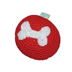 Red Bone Ball Squeaker Chew Toy