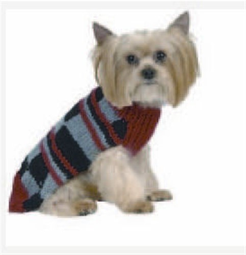 Red & Charcoal Color Block Dog Sweater - max-block