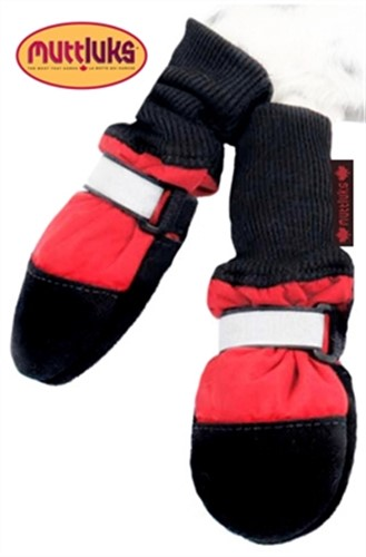 Red Fleece Lined Dog Muttluk Boots   - digpet-red-muttluk