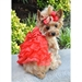 Red Satin Holiday Dog Dress with Leash   - dd-redsatin-dress