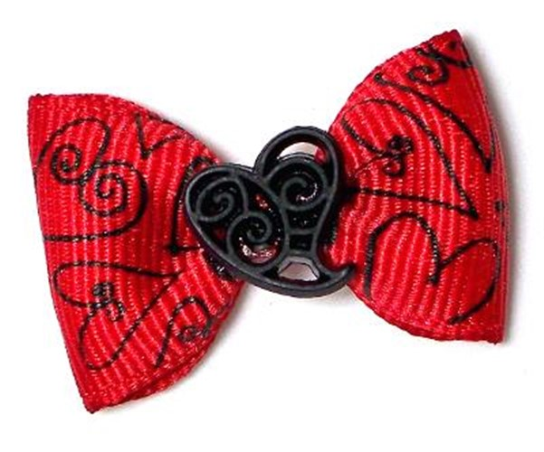 Red Scroll Heart Dog Bows - cc-red-filigree