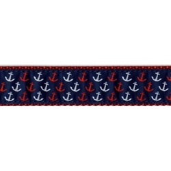 Red, White & Blue Anchor Collar, Lead & Harness 3/4 inch
