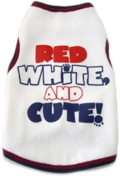 Red White & Cute  Dog Tank