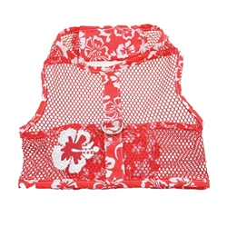 Red & White Hibiscus Flower Cool Mesh Dog Harness with Leash  wooflink, susan lanci, dog clothes, small dog clothes, urban pup, pooch outfitters, dogo, hip doggie, doggie design, small dog dress, pet clotes, dog boutique. pet boutique, bloomingtails dog boutique, dog raincoat, dog rain coat, pet raincoat, dog shampoo, pet shampoo, dog bathrobe, pet bathrobe, dog carrier, small dog carrier, doggie couture, pet couture, dog football, dog toys, pet toys, dog clothes sale, pet clothes sale, shop local, pet store, dog store, dog chews, pet chews, worthy dog, dog bandana, pet bandana, dog halloween, pet halloween, dog holiday, pet holiday, dog teepee, custom dog clothes, pet pjs, dog pjs, pet pajamas, dog pajamas,dog sweater, pet sweater, dog hat, fabdog, fab dog, dog puffer coat, dog winter jacket, dog col