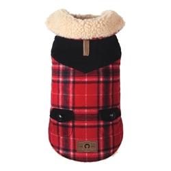 Red Wool Plaid Shearling Dog Jacket  wooflink, susan lanci, dog clothes, small dog clothes, urban pup, pooch outfitters, dogo, hip doggie, doggie design, small dog dress, pet clotes, dog boutique. pet boutique, bloomingtails dog boutique, dog raincoat, dog rain coat, pet raincoat, dog shampoo, pet shampoo, dog bathrobe, pet bathrobe, dog carrier, small dog carrier, doggie couture, pet couture, dog football, dog toys, pet toys, dog clothes sale, pet clothes sale, shop local, pet store, dog store, dog chews, pet chews, worthy dog, dog bandana, pet bandana, dog halloween, pet halloween, dog holiday, pet holiday, dog teepee, custom dog clothes, pet pjs, dog pjs, pet pajamas, dog pajamas,dog sweater, pet sweater, dog hat, fabdog, fab dog, dog puffer coat, dog winter jacket, dog col