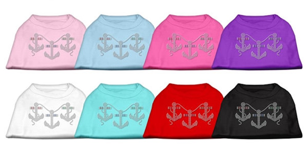 Rhinestone Anchors Dog Tank Shirt - mir-anchors