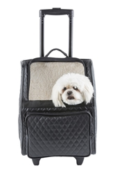 Rio Bag on Wheels in Black Quilted wooflink, susan lanci, dog clothes, small dog clothes, urban pup, pooch outfitters, dogo, hip doggie, doggie design, small dog dress, pet clotes, dog boutique. pet boutique, bloomingtails dog boutique, dog raincoat, dog rain coat, pet raincoat, dog shampoo, pet shampoo, dog bathrobe, pet bathrobe, dog carrier, small dog carrier, doggie couture, pet couture, dog football, dog toys, pet toys, dog clothes sale, pet clothes sale, shop local, pet store, dog store, dog chews, pet chews, worthy dog, dog bandana, pet bandana, dog halloween, pet halloween, dog holiday, pet holiday, dog teepee, custom dog clothes, pet pjs, dog pjs, pet pajamas, dog pajamas,dog sweater, pet sweater, dog hat, fabdog, fab dog, dog puffer coat, dog winter jacket, dog col