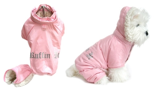 Ruffin It Pink Dog Snowsuit - dogdes-ruffin-pink