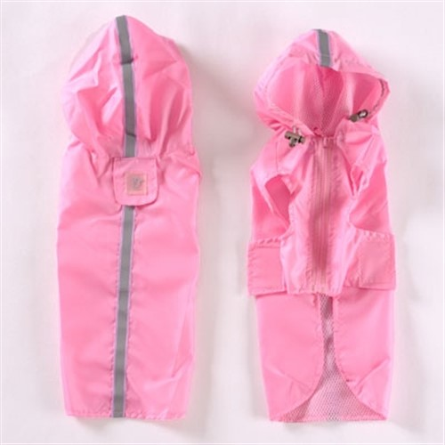 Safety Reflective Stripe Raincoat - Pink or Red - dgo-reflect-raincoat