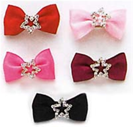Satin Rhinestone Star Dog Hair Bow