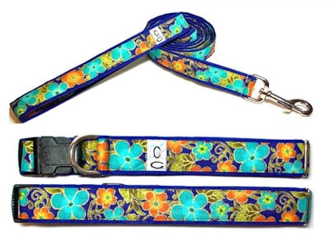 Shalimar Flowers Adjustable Cotton Collar & Leash - cutcl-flowers