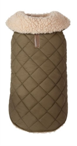 Shearling Quilted Dog Jacket in Olive - fab-shearjac1-336