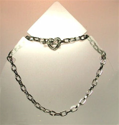 Silver Chain with Heart Toggle
