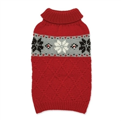 Snowflake Hand Knit Dog Sweater Our warm and cozy sweaters are individually hand knit. Perfect for a little extra warmth on cool days, or layered under our coats during chilly winters.  Yarn is 100% acrylic with a soft wool like feel.  Machine wash with like colors and lay flat to dry.  Imported.