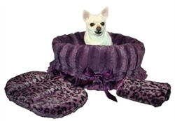 Snuggle Bug Reversible 3 in 1-Dog Bag, Bed & Car Seat-Purple Cheetah