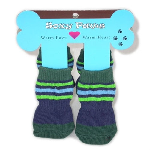 Soxy Paws - Blue & Green Stripe - HGL-blue-socksX-WR2