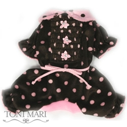 Spring Dots Smocked Dog Pajamas-Chocolate & Pink Dots