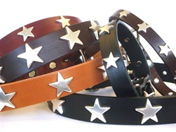 Star Full Grain Leather Collar & Lead in many Colors