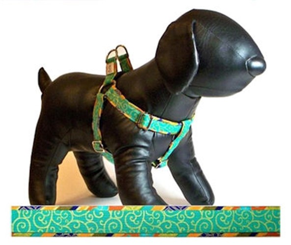 Step In Cotton Harness & Leash - Shalimar Turquoise Swirl - cutcl-swirlhar
