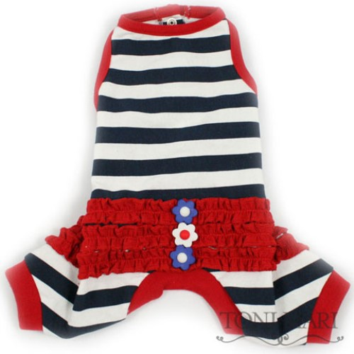 Summer Stripes Ruffled Dog Pajamas in Navy or Red - tm-summer
