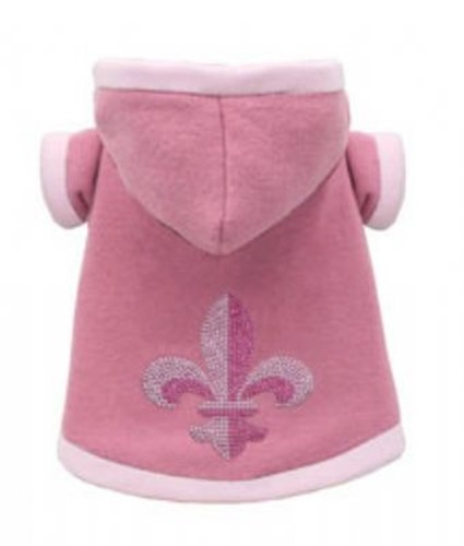 Super Soft Pink Fleur de Lis Dog Hoodie - Reversible dog bowls,susan lanci, puppia,wooflink, luxury dog boutique,tonimari,pet clothes, dog clothes, puppy clothes, pet store, dog store, puppy boutique store, dog boutique, pet boutique, puppy boutique, Bloomingtails, dog, small dog clothes, large dog clothes, large dog costumes, small dog costumes, pet stuff, Halloween dog, puppy Halloween, pet Halloween, clothes, dog puppy Halloween, dog sale, pet sale, puppy sale, pet dog tank, pet tank, pet shirt, dog shirt, puppy shirt,puppy tank, I see spot, dog collars, dog leads, pet collar, pet lead,puppy collar, puppy lead, dog toys, pet toys, puppy toy, dog beds, pet beds, puppy bed,  beds,dog mat, pet mat, puppy mat, fab dog pet sweater, dog sweater, dog winter, pet winter,dog raincoat, pet raincoat,