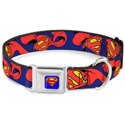 Superman Seat Belt Buckle Dog Collar & Lead