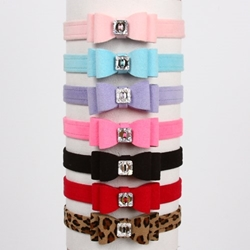 Susan Lanci 5/8 Inch Big Bow Dog Collar - Many Colors wooflink, susan lanci, dog clothes, small dog clothes, urban pup, pooch outfitters, dogo, hip doggie, doggie design, small dog dress, pet clotes, dog boutique. pet boutique, bloomingtails dog boutique, dog raincoat, dog rain coat, pet raincoat, dog shampoo, pet shampoo, dog bathrobe, pet bathrobe, dog carrier, small dog carrier, doggie couture, pet couture, dog football, dog toys, pet toys, dog clothes sale, pet clothes sale, shop local, pet store, dog store, dog chews, pet chews, worthy dog, dog bandana, pet bandana, dog halloween, pet halloween, dog holiday, pet holiday, dog teepee, custom dog clothes, pet pjs, dog pjs, pet pajamas, dog pajamas,dog sweater, pet sweater, dog hat, fabdog, fab dog, dog puffer coat, dog winter jacket, dog col