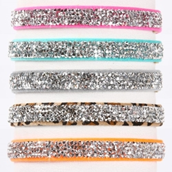 Susan Lanci Crystal Rocks 1/2 inch  Dog Collar in Many Colors