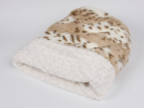 Susan Lanci Cuddle Cup in Arctic Leopard with Ivory Curly Sue