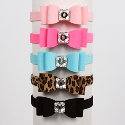 Susan Lanci REALLY Big Bow Dog Collar in 1/2 Inch Many Color Choices