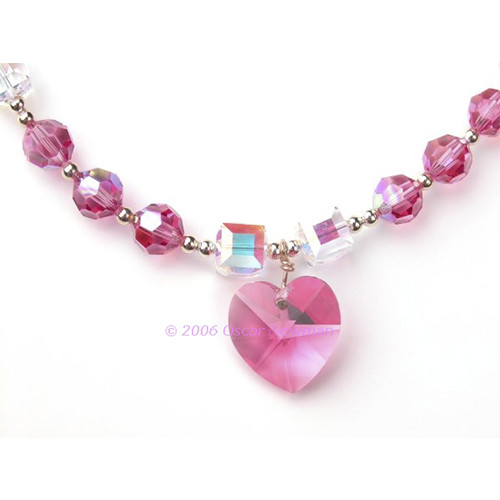 Swarovski Crystal Pink Ice Necklace - on-pink ice