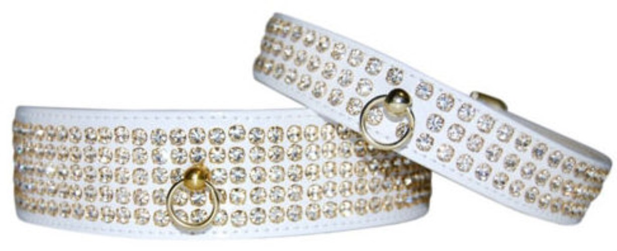 Swarovski Dog Collar - White with White Crystals - fab-whiteswarX-XBP