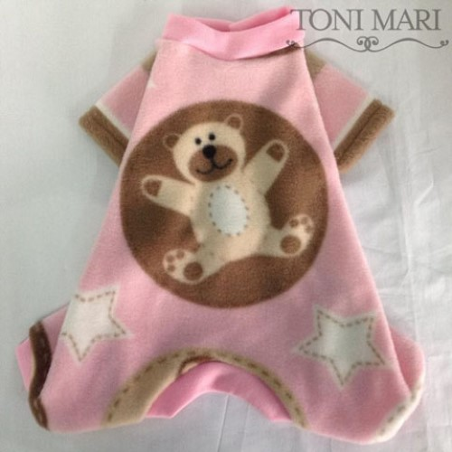 Sweet Teddy Dog Fleece Pajamas-Pink or Blue - tm-sweetted