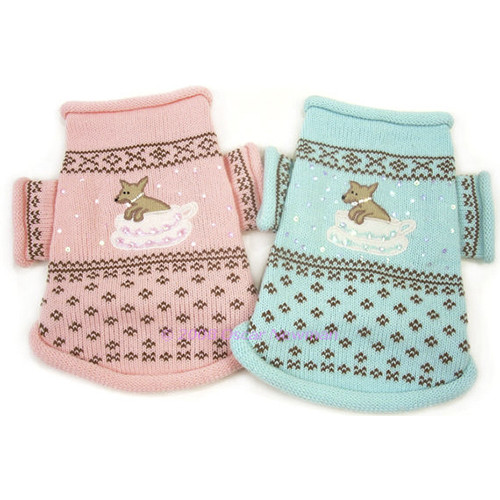 Teacup Dog Sweater in Pink or Blue - on-teacup