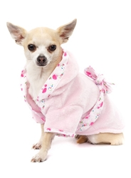 Terry Dog Bathrobe-Pink or Blue wooflink, susan lanci, dog clothes, small dog clothes, urban pup, pooch outfitters, dogo, hip doggie, doggie design, small dog dress, pet clotes, dog boutique. pet boutique, bloomingtails dog boutique, dog raincoat, dog rain coat, pet raincoat, dog shampoo, pet shampoo, dog bathrobe, pet bathrobe, dog carrier, small dog carrier, doggie couture, pet couture, dog football, dog toys, pet toys, dog clothes sale, pet clothes sale, shop local, pet store, dog store, dog chews, pet chews, worthy dog, dog bandana, pet bandana, dog halloween, pet halloween, dog holiday, pet holiday, dog teepee, custom dog clothes, pet pjs, dog pjs, pet pajamas, dog pajamas,dog sweater, pet sweater, dog hat, fabdog, fab dog, dog puffer coat, dog winter jacket, dog col