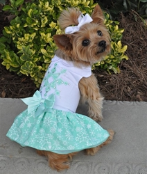 Turquoise Crystal Dress with D-Ring and Matching Leash   wooflink, susan lanci, dog clothes, small dog clothes, urban pup, pooch outfitters, dogo, hip doggie, doggie design, small dog dress, pet clotes, dog boutique. pet boutique, bloomingtails dog boutique, dog raincoat, dog rain coat, pet raincoat, dog shampoo, pet shampoo, dog bathrobe, pet bathrobe, dog carrier, small dog carrier, doggie couture, pet couture, dog football, dog toys, pet toys, dog clothes sale, pet clothes sale, shop local, pet store, dog store, dog chews, pet chews, worthy dog, dog bandana, pet bandana, dog halloween, pet halloween, dog holiday, pet holiday, dog teepee, custom dog clothes, pet pjs, dog pjs, pet pajamas, dog pajamas,dog sweater, pet sweater, dog hat, fabdog, fab dog, dog puffer coat, dog winter jacket, dog col