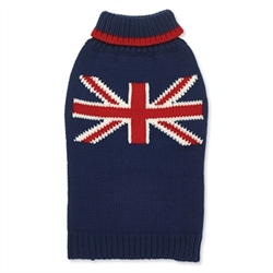 Union Jack Hand Knit Dog Sweater  Our warm and cozy sweaters are individually hand knit. Perfect for a little extra warmth on cool days, or layered under our coats during chilly winters.  Yarn is 100% acrylic with a soft wool like feel.  Machine wash with like colors and lay flat to dry.  Imported.