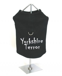 Yorkshire Terror Harness Dog Tank Top wooflink, susan lanci, dog clothes, small dog clothes, urban pup, pooch outfitters, dogo, hip doggie, doggie design, small dog dress, pet clotes, dog boutique. pet boutique, bloomingtails dog boutique, dog raincoat, dog rain coat, pet raincoat, dog shampoo, pet shampoo, dog bathrobe, pet bathrobe, dog carrier, small dog carrier, doggie couture, pet couture, dog football, dog toys, pet toys, dog clothes sale, pet clothes sale, shop local, pet store, dog store, dog chews, pet chews, worthy dog, dog bandana, pet bandana, dog halloween, pet halloween, dog holiday, pet holiday, dog teepee, custom dog clothes, pet pjs, dog pjs, pet pajamas, dog pajamas,dog sweater, pet sweater, dog hat, fabdog, fab dog, dog puffer coat, dog winter jacket, dog col