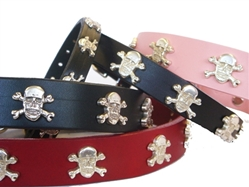 Skull Full Grain Leather Collar & Lead in many Colors