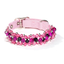 Fabuleash Beaded Dog Collar in Pink Animal