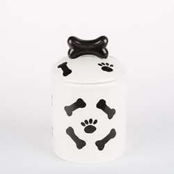 Black & White Paws/Bones Ceramic Treat Jars  dog bowls,susan lanci, puppia,wooflink, luxury dog boutique,tonimari,pet clothes, dog clothes, puppy clothes, pet store, dog store, puppy boutique store, dog boutique, pet boutique, puppy boutique, Bloomingtails, dog, small dog clothes, large dog clothes, large dog costumes, small dog costumes, pet stuff, Halloween dog, puppy Halloween, pet Halloween, clothes, dog puppy Halloween, dog sale, pet sale, puppy sale, pet dog tank, pet tank, pet shirt, dog shirt, puppy shirt,puppy tank, I see spot, dog collars, dog leads, pet collar, pet lead,puppy collar, puppy lead, dog toys, pet toys, puppy toy, dog beds, pet beds, puppy bed,  beds,dog mat, pet mat, puppy mat, fab dog pet sweater, dog sweater, dog winter, pet winter,dog raincoat, pet raincoat