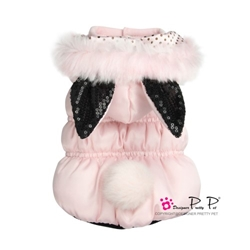 Bunny Party Coat in Pink or Black wooflink, susan lanci, dog clothes, small dog clothes, urban pup, pooch outfitters, dogo, hip doggie, doggie design, small dog dress, pet clotes, dog boutique. pet boutique, bloomingtails dog boutique, dog raincoat, dog rain coat, pet raincoat, dog shampoo, pet shampoo, dog bathrobe, pet bathrobe, dog carrier, small dog carrier, doggie couture, pet couture, dog football, dog toys, pet toys, dog clothes sale, pet clothes sale, shop local, pet store, dog store, dog chews, pet chews, worthy dog, dog bandana, pet bandana, dog halloween, pet halloween, dog holiday, pet holiday, dog teepee, custom dog clothes, pet pjs, dog pjs, pet pajamas, dog pajamas,dog sweater, pet sweater, dog hat, fabdog, fab dog, dog puffer coat, dog winter jacket, dog col