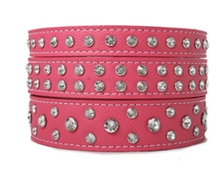 Crystallized Soft Italian Leather Dog Collar in Many Colors