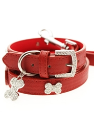 Red Diamante Dog Collar & Lead Set dog collar, dog leash. dog boutique, small dog boutique, Urban pup