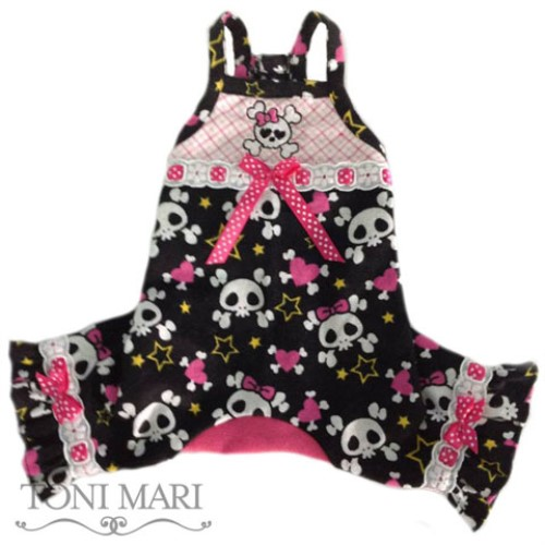 Embroidered Heart Skulls Dog Pajamas - tm-heartskullemb