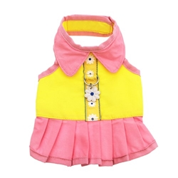 Flower Harness Dog Dress - Yellow/Pink wooflink, susan lanci, dog clothes, small dog clothes, urban pup, pooch outfitters, dogo, hip doggie, doggie design, small dog dress, pet clotes, dog boutique. pet boutique, bloomingtails dog boutique, dog raincoat, dog rain coat, pet raincoat, dog shampoo, pet shampoo, dog bathrobe, pet bathrobe, dog carrier, small dog carrier, doggie couture, pet couture, dog football, dog toys, pet toys, dog clothes sale, pet clothes sale, shop local, pet store, dog store, dog chews, pet chews, worthy dog, dog bandana, pet bandana, dog halloween, pet halloween, dog holiday, pet holiday, dog teepee, custom dog clothes, pet pjs, dog pjs, pet pajamas, dog pajamas,dog sweater, pet sweater, dog hat, fabdog, fab dog, dog puffer coat, dog winter jacket, dog col