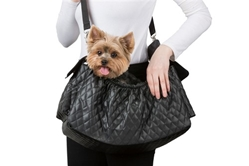 Gigi Sling in Quilted Black or Ivory Roxy & Lulu, wooflink, susan lanci, dog clothes, small dog clothes, urban pup, pooch outfitters, dogo, hip doggie, doggie design, small dog dress, pet clotes, dog boutique. pet boutique, bloomingtails dog boutique, dog raincoat, dog rain coat, pet raincoat, dog shampoo, pet shampoo, dog bathrobe, pet bathrobe, dog carrier, small dog carrier, doggie couture, pet couture, dog football, dog toys, pet toys, dog clothes sale, pet clothes sale, shop local, pet store, dog store, dog chews, pet chews, worthy dog, dog bandana, pet bandana, dog halloween, pet halloween, dog holiday, pet holiday, dog teepee, custom dog clothes, pet pjs, dog pjs, pet pajamas, dog pajamas,dog sweater, pet sweater, dog hat, fabdog, fab dog, dog puffer coat, dog winter ja