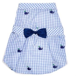 Gingham Whales Dress wooflink, susan lanci, dog clothes, small dog clothes, urban pup, pooch outfitters, dogo, hip doggie, doggie design, small dog dress, pet clotes, dog boutique. pet boutique, bloomingtails dog boutique, dog raincoat, dog rain coat, pet raincoat, dog shampoo, pet shampoo, dog bathrobe, pet bathrobe, dog carrier, small dog carrier, doggie couture, pet couture, dog football, dog toys, pet toys, dog clothes sale, pet clothes sale, shop local, pet store, dog store, dog chews, pet chews, worthy dog, dog bandana, pet bandana, dog halloween, pet halloween, dog holiday, pet holiday, dog teepee, custom dog clothes, pet pjs, dog pjs, pet pajamas, dog pajamas,dog sweater, pet sweater, dog hat, fabdog, fab dog, dog puffer coat, dog winter jacket, dog col