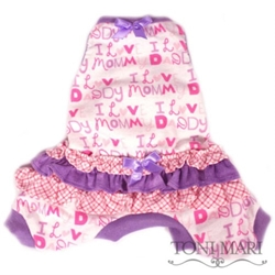 I Love Mommy & Daddy Dog Pajamas in Lime or Violet