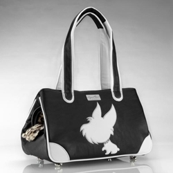 I Love New Yorkie Rescue Me Tote in Faux Leather-Pink or Black dog carrier, small dog carrier, dog boutique